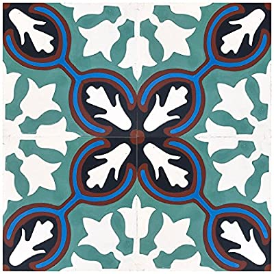 "Rustico Tile and Stone RTS2.1 Avallon Cement Tile Pack of 13, 8""x 8, Turquoise/Maroon/Blue/White, 13 Piece"