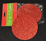 Red Glitter Round Foam Coasters - Pack of 4