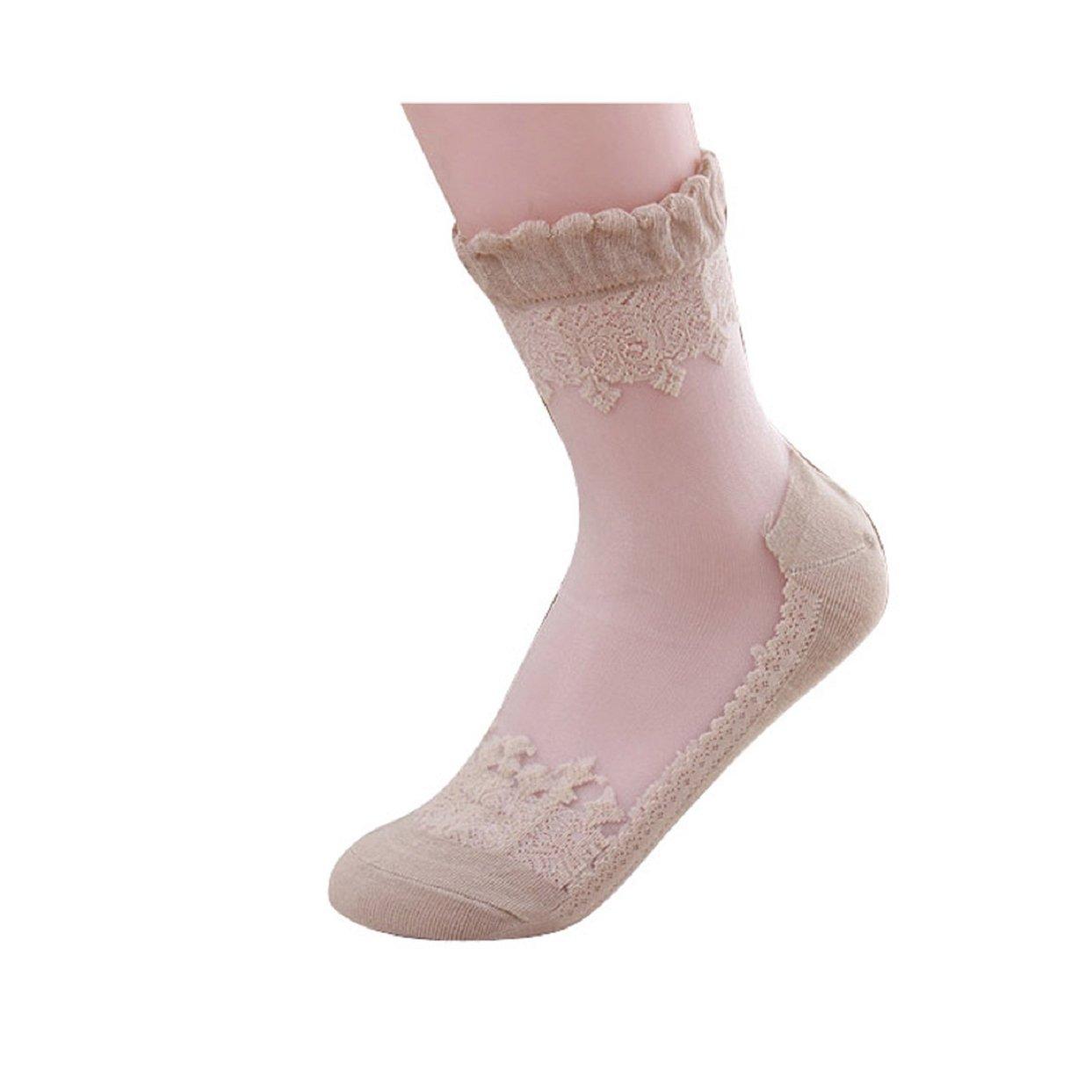 Lowpricenice(TM) Ultrathin Transparent Beautiful Crystal Lace Elastic Short Socks (Black)