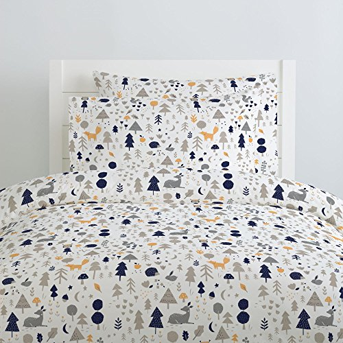(Carousel Designs Taupe and Windsor Navy Baby Woodland Duvet Cover Twin Size - Organic 100% Cotton Duvet Cover - Made in The USA)