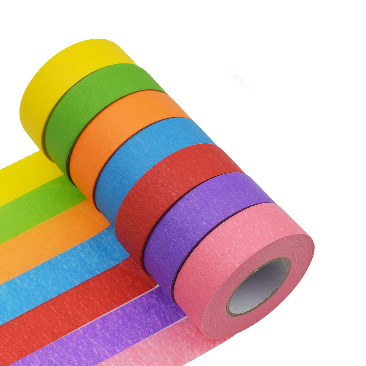 7 Pack 1 inch x 82 Feet Rolls Colored Masking Tape Rainbow Masking Tape Labelling Tape Graphic Art Tape Roll Aloddy