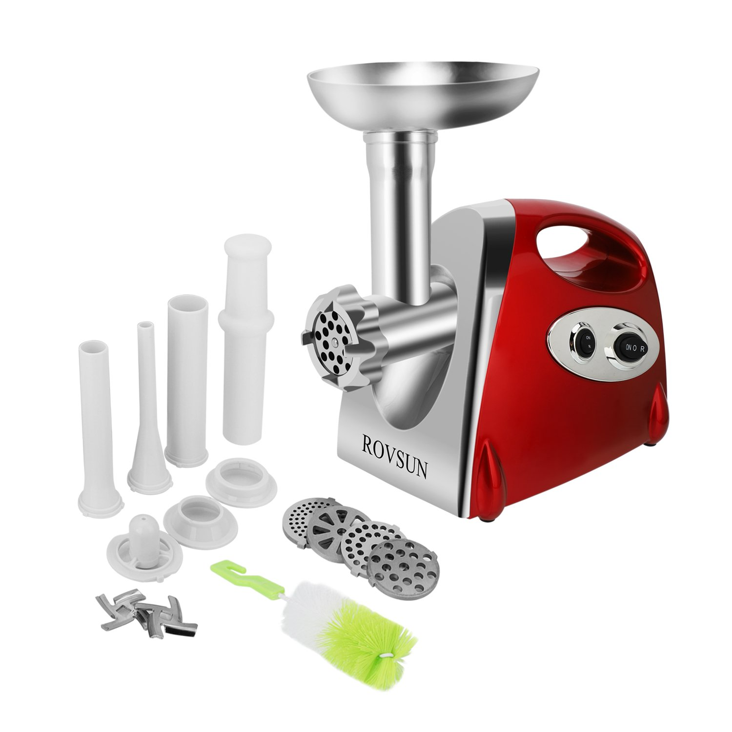 ROVSUN Electric Meat Grinder, 800W Stainless Steel Mincer Sausage Stuffer, Heavy Duty Food Processor with 4 Grinding Plates - 3 Sausage Tubes - 2 Blades - Kubbe Attachment & Brush, ETL Approved
