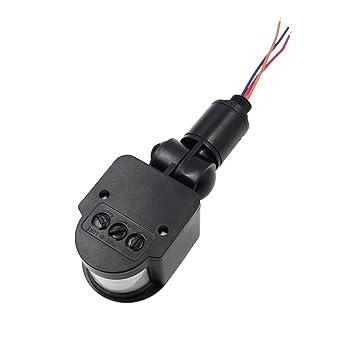 YTYCJSFH Sensor de 12m PIR Motion Detector LED al Aire Libre RF DC 12V Negro