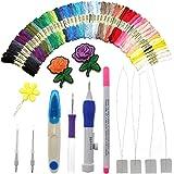 AROYELマジック刺繍ペンパンチニードルコンプリートセット、50色の糸と刺繍ツール、クロスステッチツールキットとパンチニードルセットマジック刺繍ペン