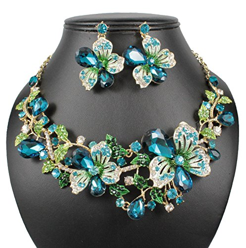 Janefashions Sexy Flower Blue Austrian Rhinestone Crystal Bib Statement Necklace Earrings Set Choker Collar Prom Party Teal N815t