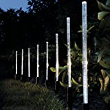 Whitelotous 8 Pack Whites Solar Tube Lights Solar Acrylic Bubble Pathway Decoration Garden Stick Stake Light Set