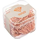 200 Office Paper clips, 32mm Rose Gold Paper clips, Rose Gold Office Supplies, 200-Count - HVS (28mm)