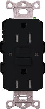 Lutron CAR-15-GFST-BL Claro 15-Amp Self-Testing Receptacle Black