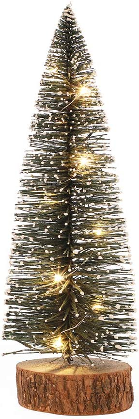 "n / a 11.8"" Frosted Pine Tree Decor LED Lighted Mini Christmas Tree Tabletop Wooden Base Desktop Lights Home Decoration for Christmas Indoor Party Ornament Holder"