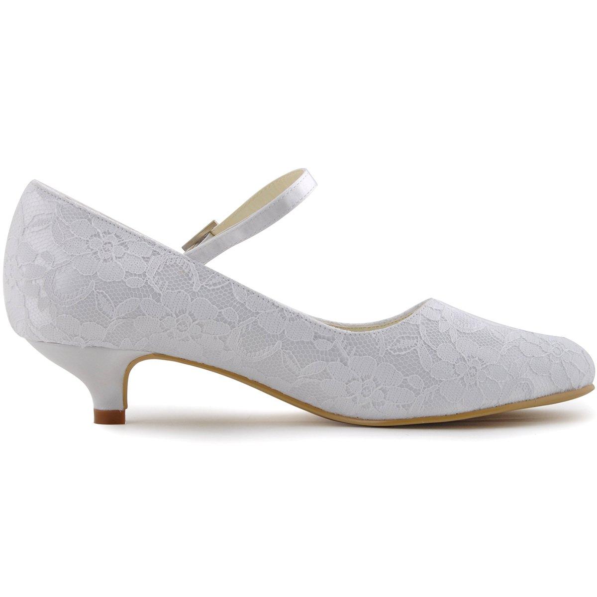 ElegantPark 100120 Mujer Mary Jane Cerrado Puntiaguda Bajo Gatito Tac/ón Corte Zapatos Hebilla Cord/ón Boda Nupcial Zapatos