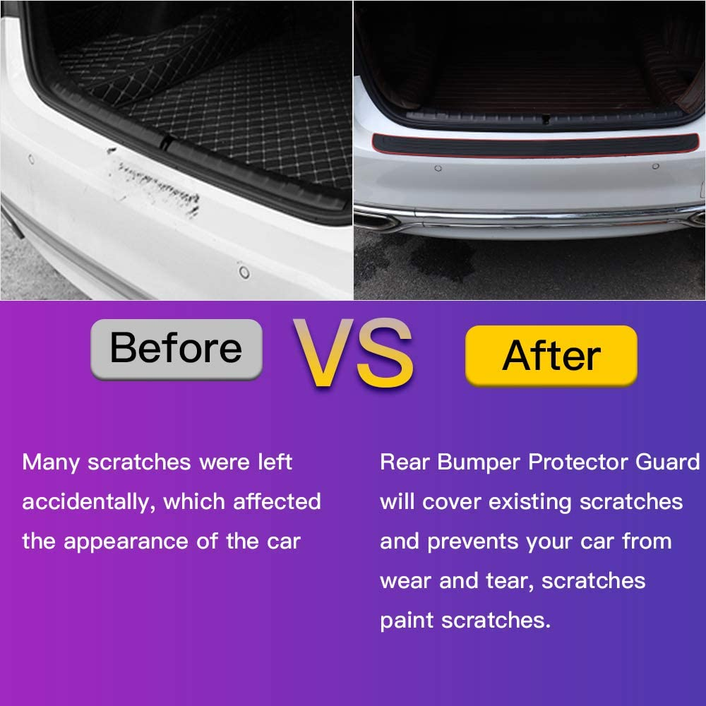 RUICA Rear Bumper Protector Guard Trunk Rubber Protection Strip Rubber Scratch-Resistant Trunk Door Entry Guards Car Accessory for SUV//Cars Universal Black with Full 3M Tape Pack-1