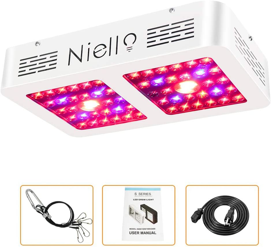COB LED Grow Light Niello CREE COB Ultralight Mute 600W Dual Reflector LED Grow Lamp Full Spectrum Multiple Units Can Be Connected in Series for Indoor Greenhouse Hydroponic Fruit and Vegetable Plan