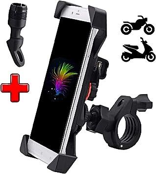ICOOM - Soporte de teléfono para Moto o Scooter, Ajustable, Doble fijación Universal, Manillar retrovisor + USB, Conector Cargador de alimentación de 5 V para GPS, Smartphone, iPhone, Samsung: Amazon.es: Electrónica