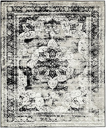 Traditional Persian Vintage Design Rug Gray Rug Black 8' x 10' FT (305cm x 244cm) Sofia Area Rug Inspired Overdyed Distressed (Black Persian Rug)