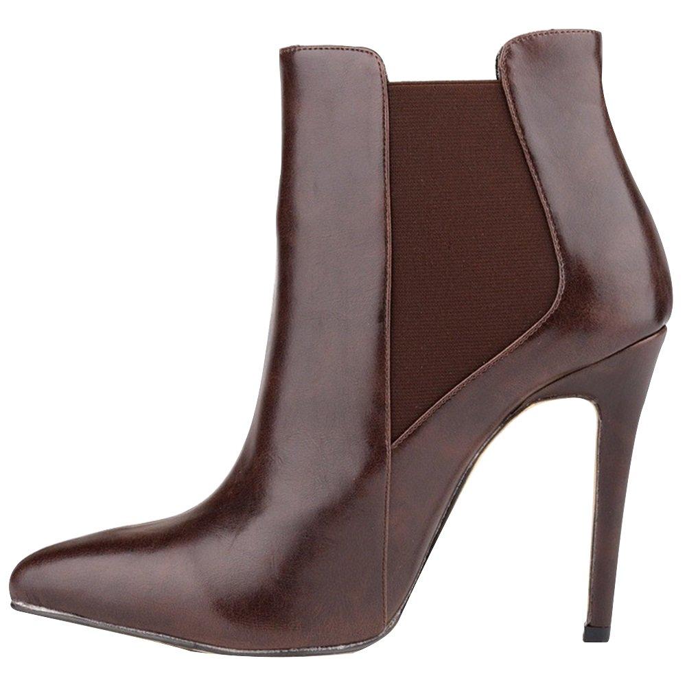 HooH Damen Stiefeletten Reißverschluss Spitze Zehe High Heel Kurze Stiefel Braun