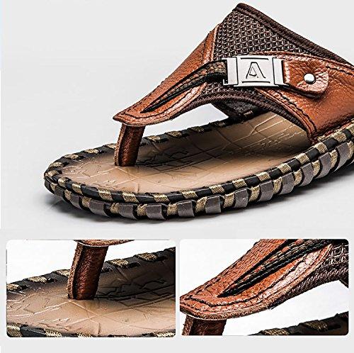 Odema Mens Klassiska Premium Läder Flip Flops Sandaler Extra Stora Sommarstrand Tofflor Brun