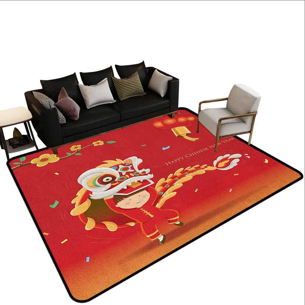 Bedroom Carpet Chinese New Year,Little Boy Performing Lion Dance with The Costume Flowering Branch Lantern, Multicolor by MsShe