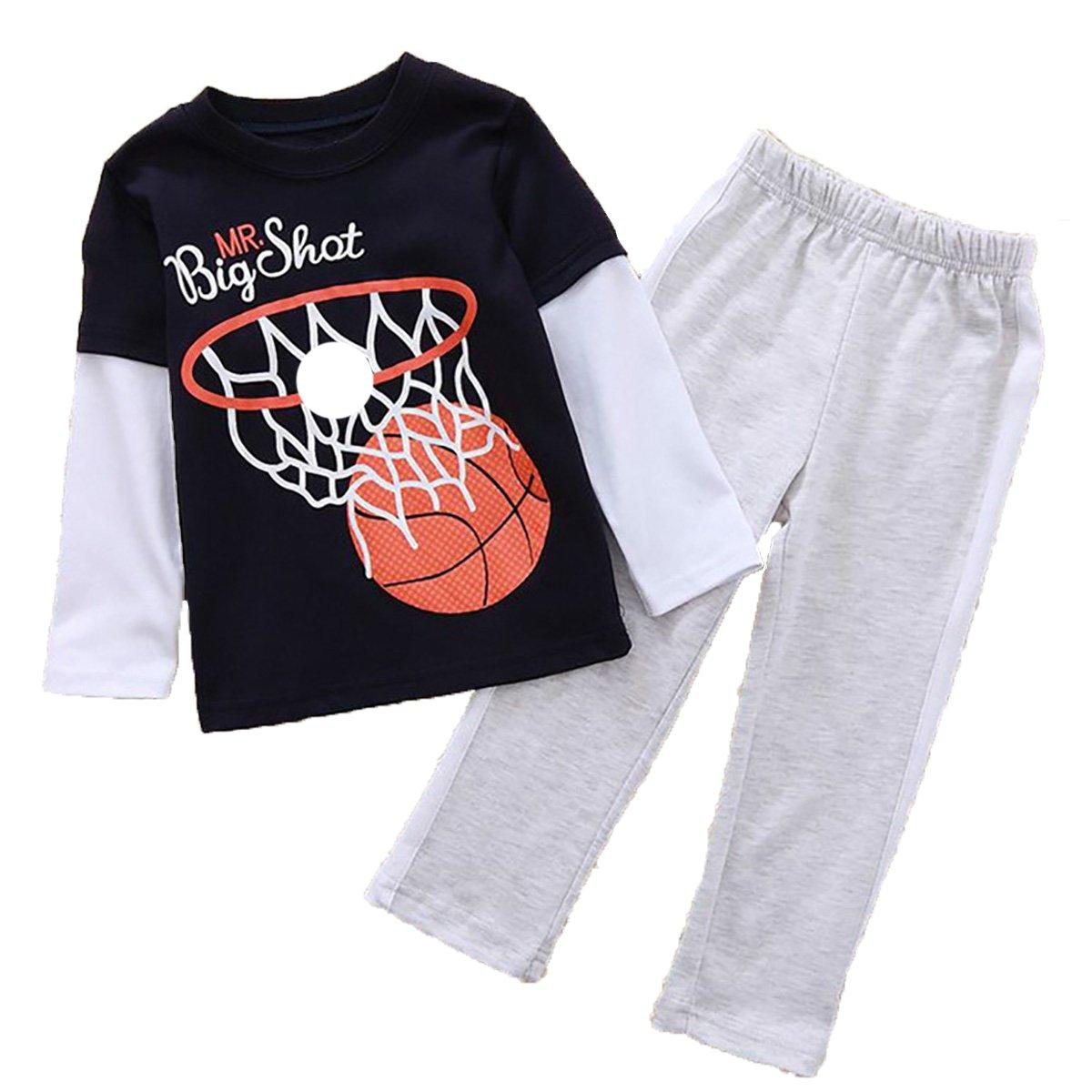 Captain Meow Boys Long Sleeve Clothing Set T-shirt And Pants Basketball