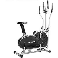 ISE - Elíptica Cross Trainer 2 en 1, bicicleta estática con asiento, entrenamiento cardiovascular con sensores de pulso…