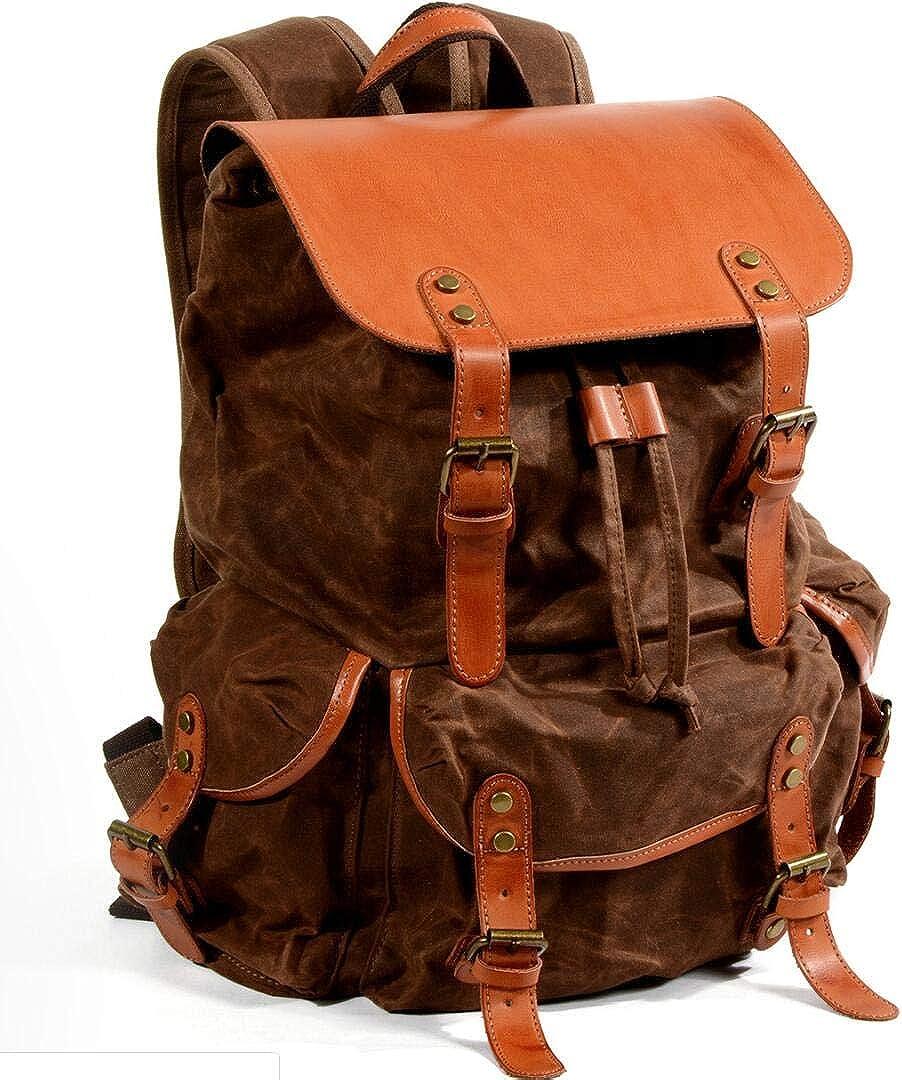 Joewilling Mens Waterproof Oil Wax Canvas Bag Retro Outdoor Travel Shoulder Bag Large Capacity Mountaineering Bag J0020