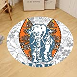 Gzhihine Custom round floor mat Elephants Decor Elephant Is Playing Soccer With A Kid Mario Moustache Sports Decor Football Print Bedroom Living Room Dorm Decor Purple White
