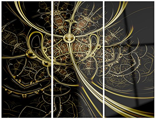 Gold Metallic Fabric Pattern - Digital Art Glossy Metal Wall Art,Gold,