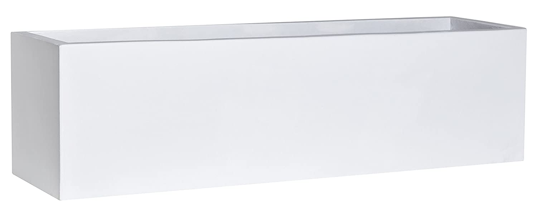Gartenfreude Kübel Pflanzgefäß Light Cement, 100 x 28 x 28 cm, ohne Einsatz, weiß