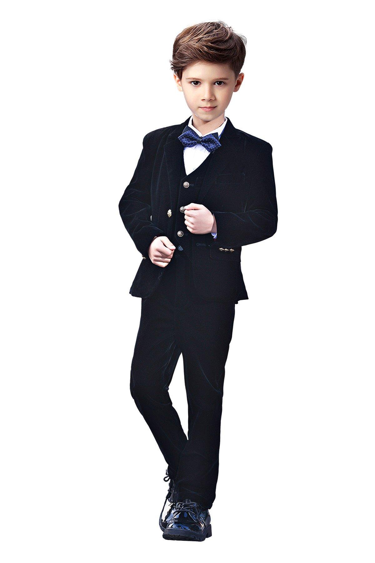 Yanlu 5 Piece Boys Suits Set Kids Toddler Velvet Suit Blazer Vest Pants Shirt And Bow Tie Size 3T Black