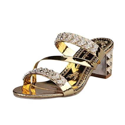 Fuxitoggo Sandalias de Mujer, Zapatillas de Diamantes de imitación de Mujer Moda de Mujer Zapatos