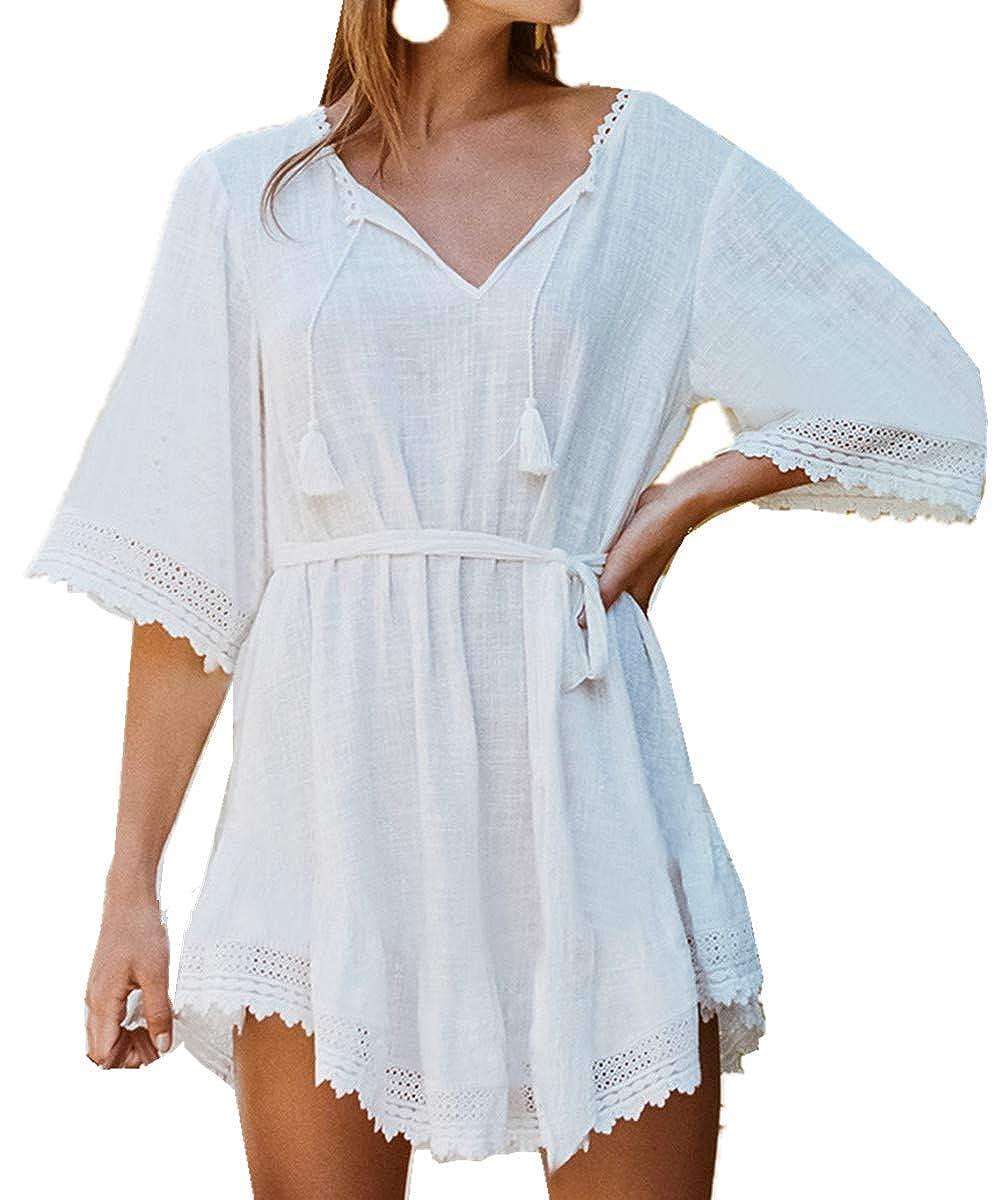 L-Peach Damen Umhang Strand-Kleid Bikini Sommerkleid Fransen Sommer-Strand-Bikini Modisches Strandkleid One Size