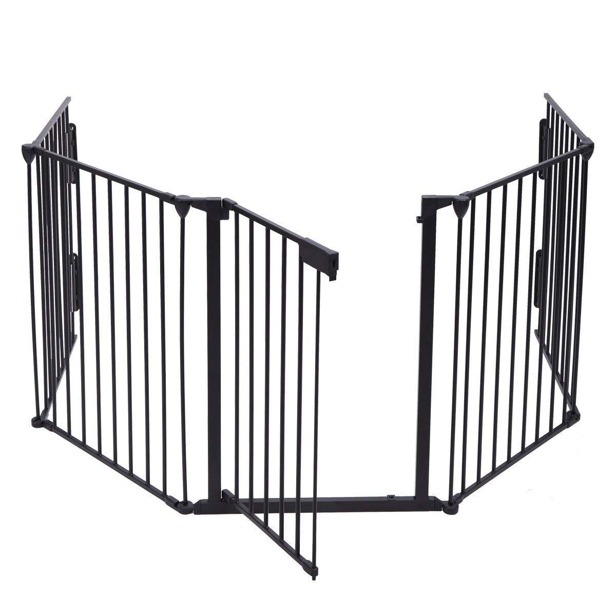 Black Safety Gate Fireplace Fence Hearth Guard for Baby Pet Dog Cat BBQ Metal Fire Gate Protection Fireguard 5 Sides