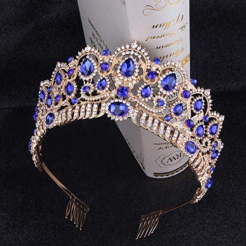 Penxina Crystal Wedding Tiara for Bride - Baroque Royal Queen Princess Crown for Bride Women Wedding Prom Party Birthday Rhinestone Headpieces (Gold+Blue) -