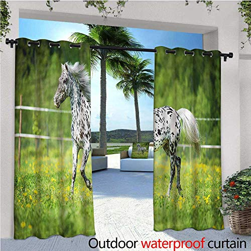 (warmfamily Horse Balcony Curtains Running Appaloosa Stallion Outdoor Patio Curtains Waterproof with Grommets W84 x L108)