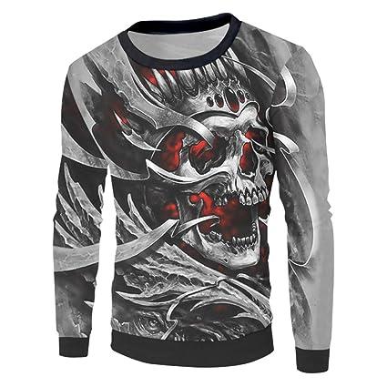 Ai Ya-weiyi Unisex Camisetas Divertidas 3D White Terror Cráneo Metal Novedad Sudaderas Sudadera Hip