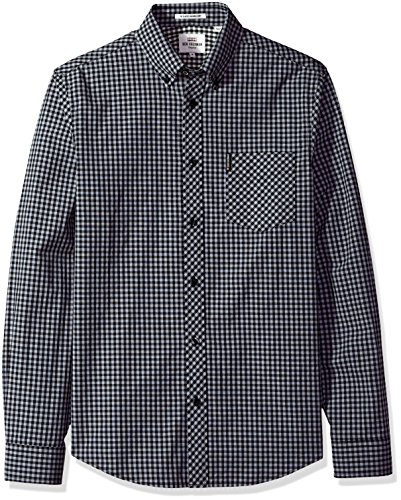 Ben Sherman Men's Longsleeve CORE Gingham, Graphite Grey, Small
