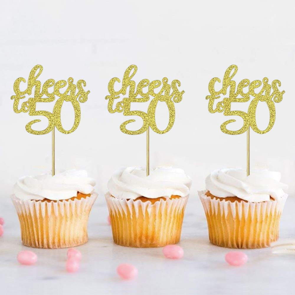 Set of 36 Golden Glitter Cheers to 50 Cupcake Toppers 50th Birthday 50th Anniversary Number 50 Cake Topper Picks for Birthday Wedding Anniversary Party Decors