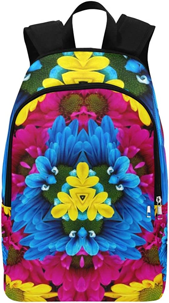 Flowers Kaleidoscope Mandala Ornament Floral Unique Custom Outdoor Shoulders Bag Fabric Backpack Multipurpose Daypacks For Adult