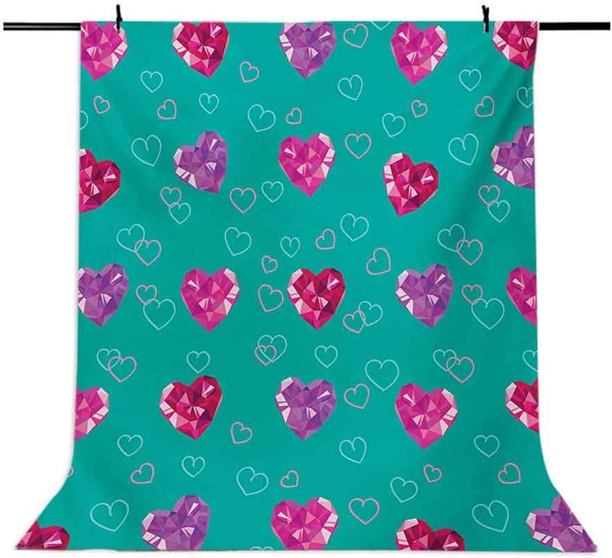 Teal 10x15 FT Photo Backdrops,Crystal Hearts Gemstone Figures Love Valentines Day Celebrating Romantic Print Background for Party Home Decor Outdoorsy Theme Vinyl Shoot Props Red Fuchsia Teal