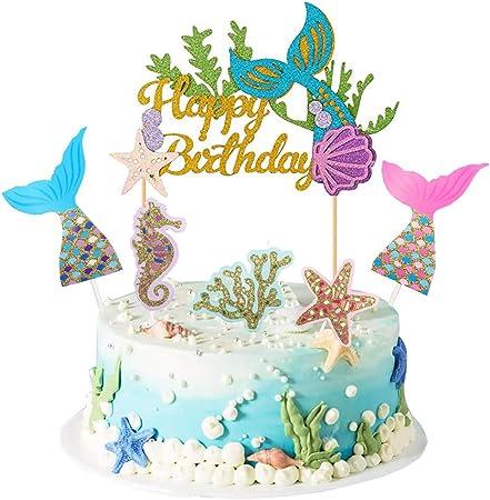 Starfish Mermaid Happy birthday Cake Toppers Cupcake Baby Shower DIY Gifts ha