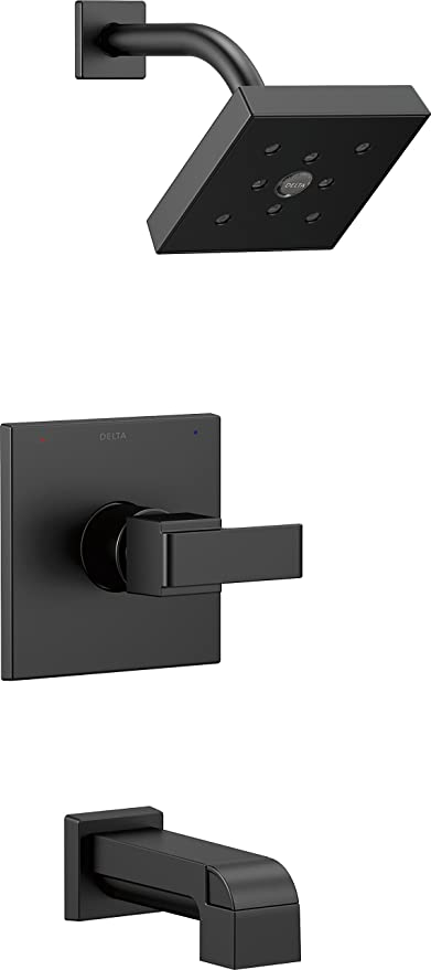 Delta Bathtub And Shower Faucets.Delta Faucet Ara 14 Series Single Function Tub And Shower Trim Kit With Single Spray H2okinetic Shower Head Matte Black T14467 Bl Valve Not