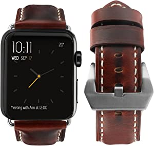 top4cus Compatible with Apple Watch 38mm 42mm 40mm 44mm Genuine Leather Strap Series 4 Series 3 Band for Men and Women (38mm/40mm, Unique Brown)