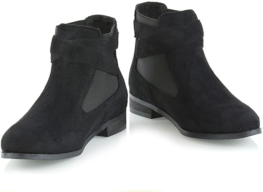 ESSEX GLAM Womens Chelsea Boots Pull On Buckle Elasticated Gusset Flat Ankle Booties