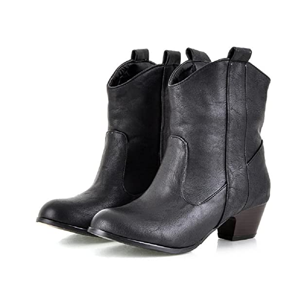 Women Vintage Mid Heel Pull-up Tabs Ankle Booties Cowgirl Winter Ankle High Snow Boots Martin Boots
