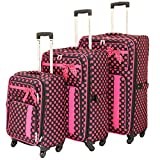 American Green Travel Polka Dot Luggage Set, Black/Pink
