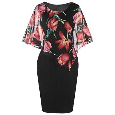 Fashion Womens Casual Plus Size Rose Print Chiffon O-Neck Ruffles Bodycon  Mini Dress Midi Dress Wedding at Amazon Women s Clothing store  977f75bc61af