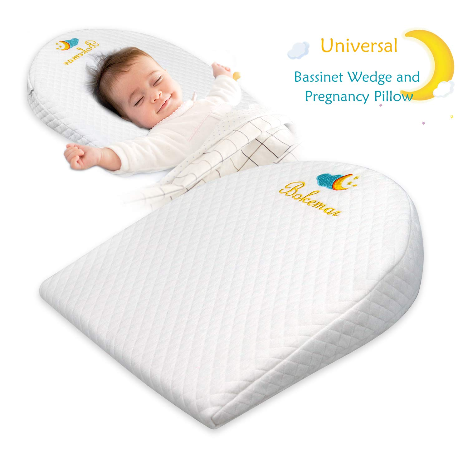 bokemar Universal Bassinet Wedge Pillow for Acid Reflux & Nasal Congestion Relief with Cotton & Waterproof Covers Baby Sleep Positioner for Under The Mattress 12-Degree