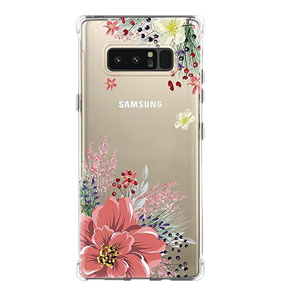 Galaxy Note 8 Case,Samsung Galaxy Note 8 Case with Flower,LUOLNH Slim Shockproof Clear Floral Pattern Soft Flexible TPU Back Cover for Samsung Galaxy ...