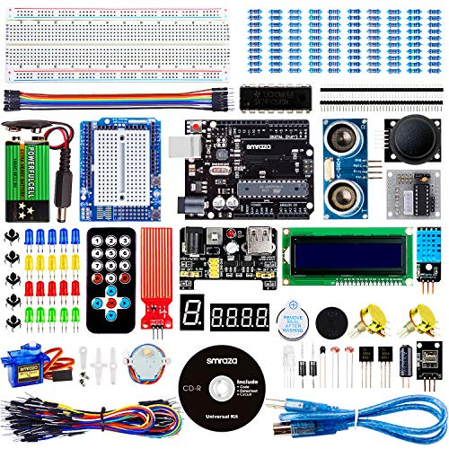 Smraza Super Starter Kit for Arduino UNO R3 Project with Tutorial, Including Breadboard, Power Supply, Jumper Wires, Resistors,LED, LCD 1602, Sensors