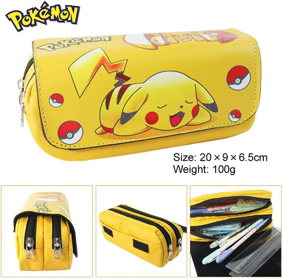 1 Pcs New Cute Cartoon Anime Yellow Print Pikachu Canvas Pencilcase Zipper Waterproof Pencil Case Holder Stationery Box Cosmetic Pouch Storage Bag Office School Student Kids Birthday Gift