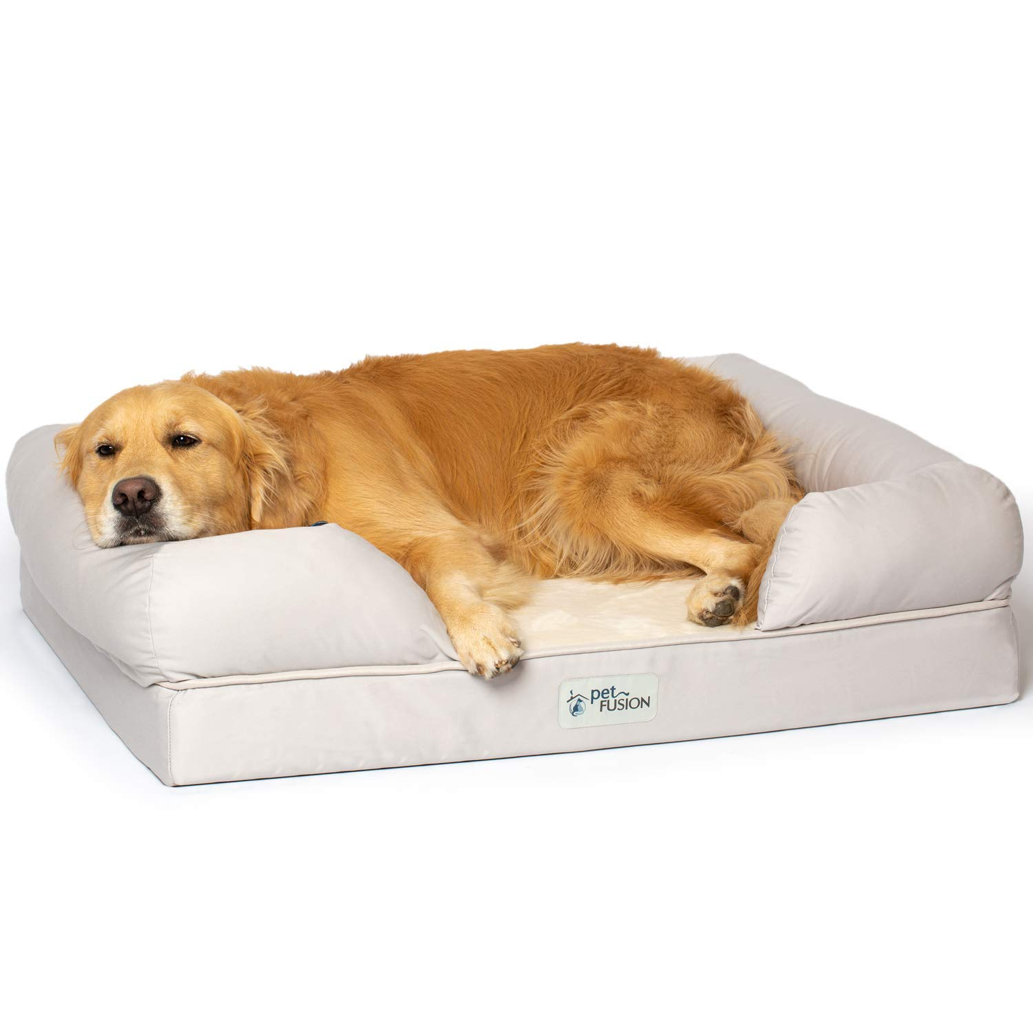 PetFusion Ultimate Dog Bed, Orthopedic Memory Foam. (Small Sandstone, Medium Firmness, Waterproof Liner, YKK Zippers, More Breathable 35% Cotton Cover, Cert. Skin Contact Safe). 2yr Warranty